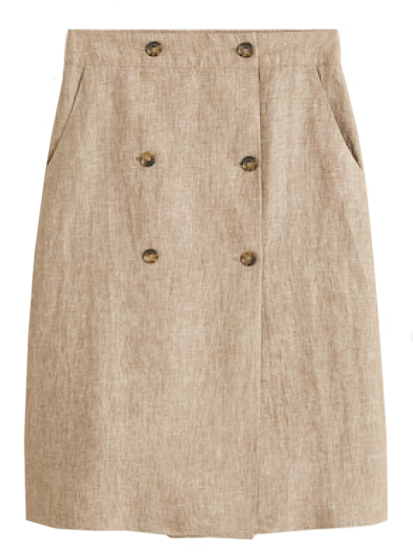 642d4ac5f9 I like a natural linen skirt with matching espadrilles for a chic  monochromatic look. Top suggestion: A super verstatile short sleeved white  button-down ...